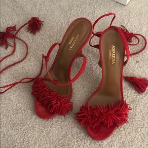 Aquazurra red suede lace up heels size 37 7